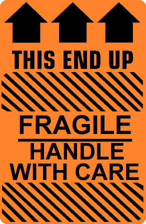 Photo Of Caution Fragile Handle With Care This End Up Label