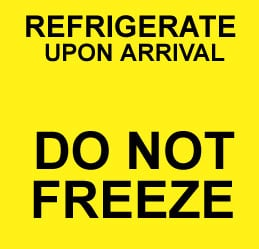 Caution Refrigeration Upon Arrival - Do Not Freeze Label