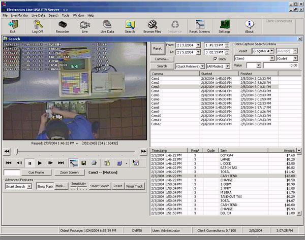 Electronics Line ETV-POS Surveillance Camera Software