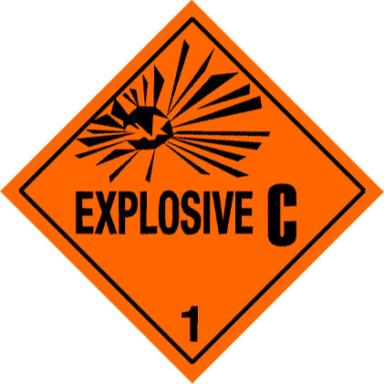 Warning Explosive 1.3C Label