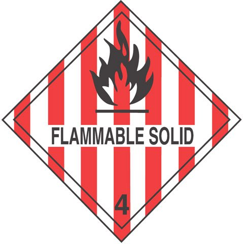 Warning Flammable Solid Label
