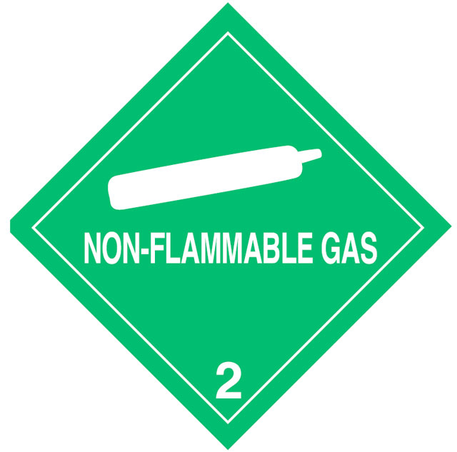 Warning Non-Flammable Gas Label