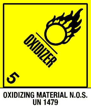 Warning Oxidizer - Oxidizing Material Label