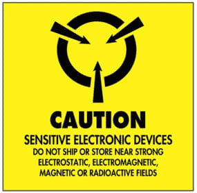 Warning Caution Sensitive Electronic Devices Label