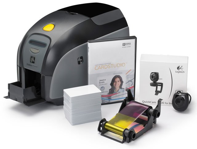 zebra zxp series 3 id card printer system quikcard id solution with zxp series 3 double sided card printer usb cardstudio standard software webcam - Pvc Card Printer