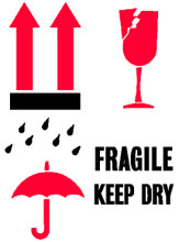Packing International Fragile Keep Dry Label