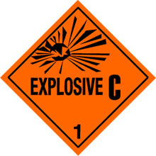 Warning Explosive 1.3C Label
