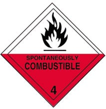 Warning Spontaneously Combustible Label